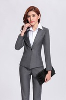 Formal Pant Suits for Women Business Suits for Work Wear Sets Gray Blazer Ladies Office Uniform