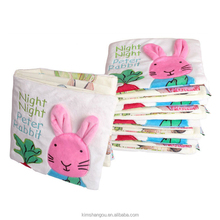 Hot Sale Embroidery Rabbit Baby Cloth Book With Sound Paper Toddlers Newborn Learning Early Education Toys