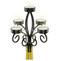 5 Arms Scroll Iron Wine Bottle Candelabra