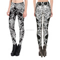 Ladies digital print skull head tight yoga pant