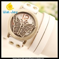 2015 newest vintage butterfly face leather strap multicolor fashion ladies watch(WJ-4141)
