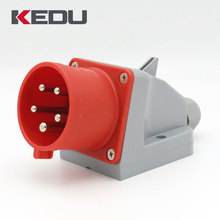 KEDU IP44 3p+n+pe 32 amp 400v 6h industrial male wall mount plug and socket outlets