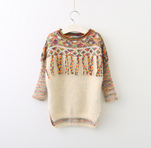 Wholesale New designs knit sweaters wool colorful tassel sweater for 2-6 years girls