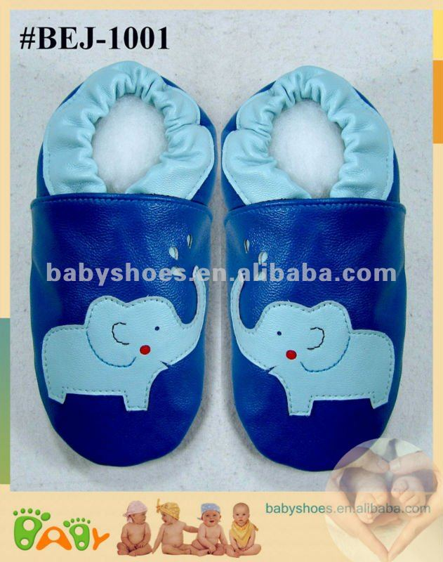 blue elephant soft sole sheep leather baby shoes