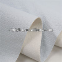 0.55mm white diamond pattern viscose polyester pu faux leather embossed fabric