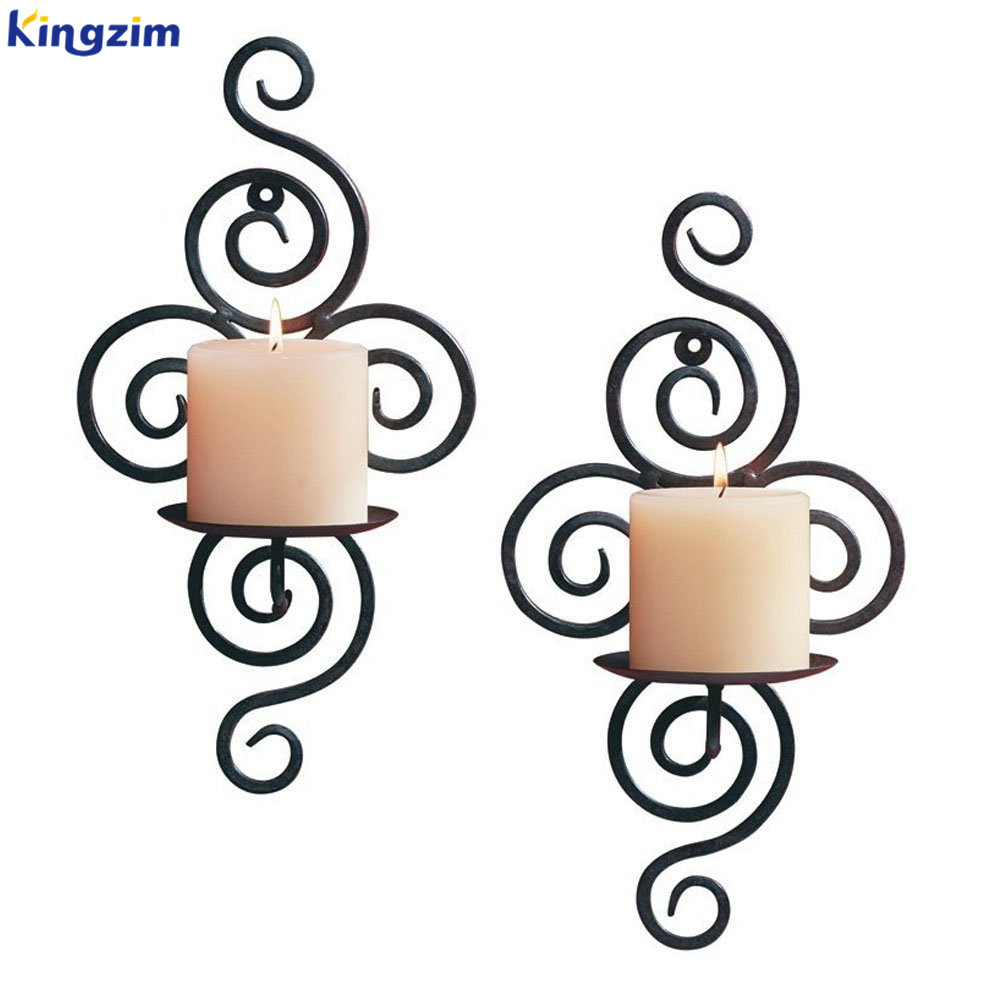 Elegant Pair of Iron Decorative Swirling Scroll Design Wall Hanging Art Candle Holders