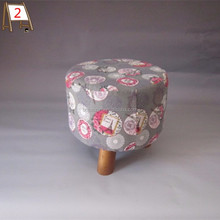 Small Round Foot Rest Natural Wood Stool