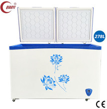 commercial chest freezer ice cream display freezer frozen meat/ fish deep freezer 278L