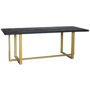 New design black reclaimed wood gold metal base restaurant imported dining table set 6 chairs dining room furniture