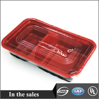 Plastic food tray with lid 2 compartments