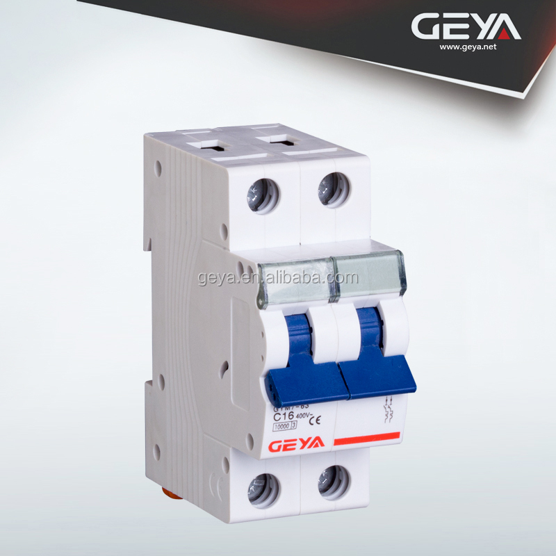GEYA High Quality 2 Pole 63A Current Circuit Breaker / MCB With IEC Approved