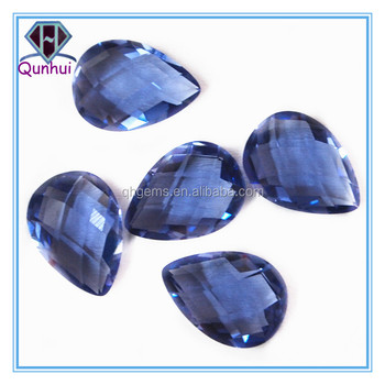 Amazing pear shaped blue cubic zirconia stone