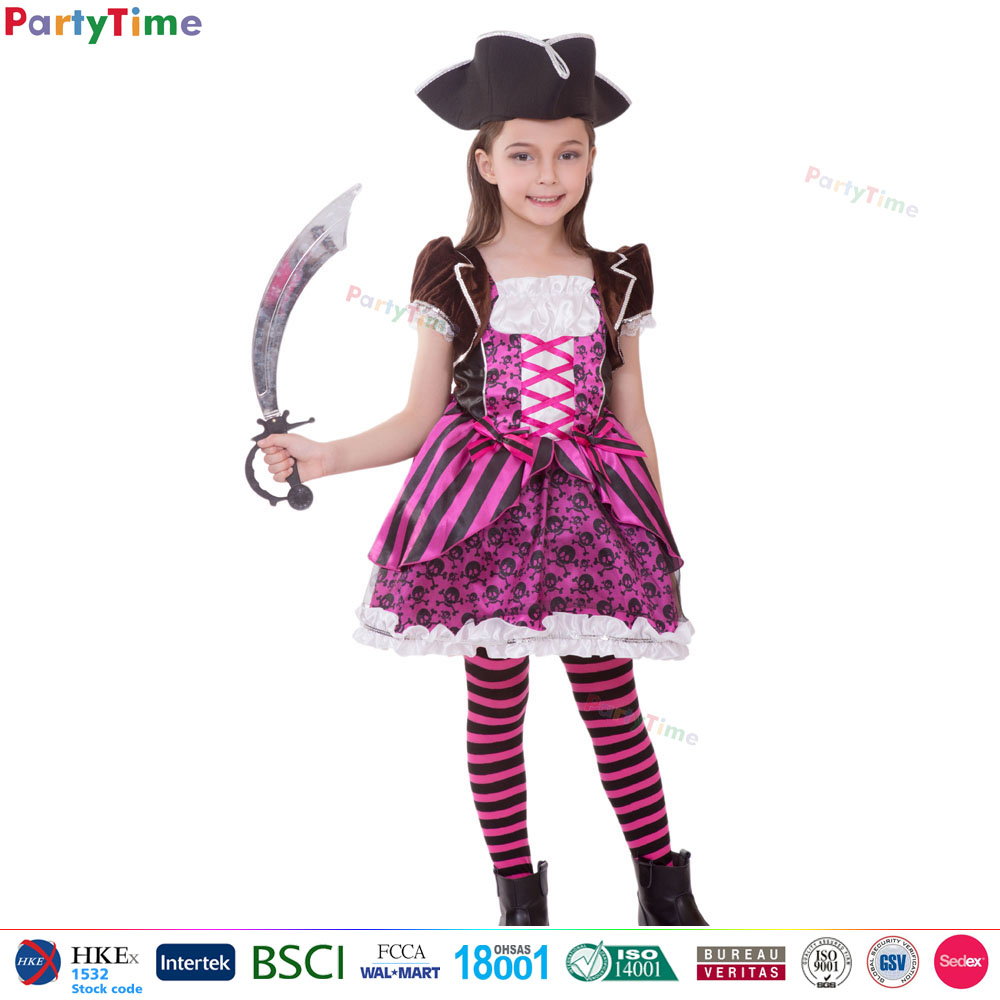 2017 top quality chinese party costume kids pink captain pirate girl halloween costume cheap sexy pirate costume