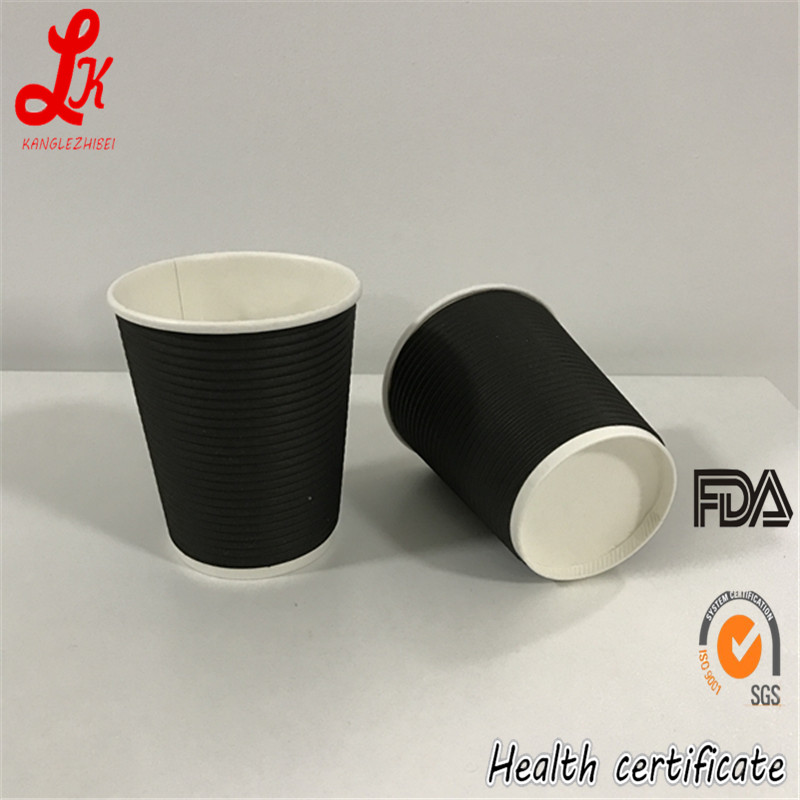 Horizontal Ripple Wall Black Paper For Paper Coffee Carton Cup