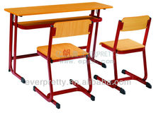 Modern university lercture table dek and chair, two people chairs and ables set