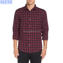 latest shirt designs for men custom cheap flannel shirts trim slim fit double weave gingham shirt
