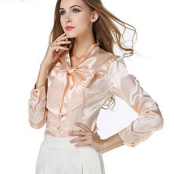 Wholesale Lady Korean woman chiffon blouse fashion top elegant bowknot ladies shirt