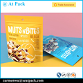 Custom printed resealable stand up nuts package with clear window