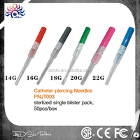 14G,16G,18G,20G,22G Catheter Piercing Needles sterilized safety piercing tools