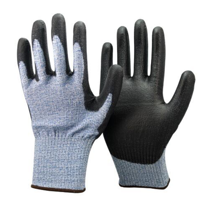 SRSAFETY 13G blue Nylon and HPPE and glassfibre liner coated black PU on palm glove/PU coated cut-resistant industrial gloves