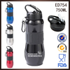 Wholesale ED754 high quality single wall carabiner water bottle with company logo
