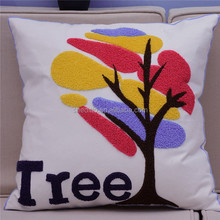 Lovely color swatch tree pattern embroidery for sofa decorative student or kids cotton cushion