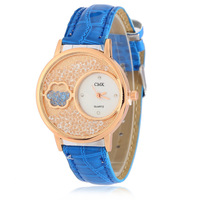 chram floral crystal lady watch leather quartz wrist watch for women and girls best gift R165