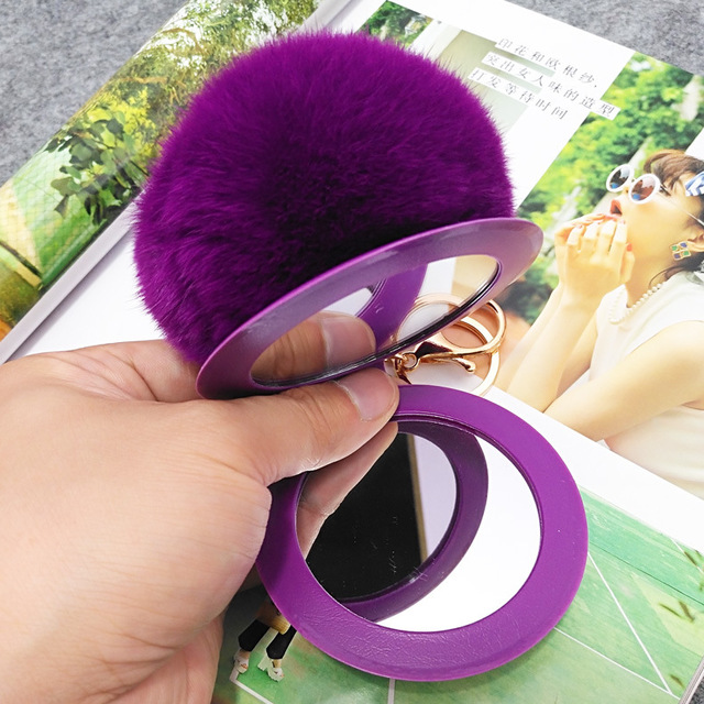 New portable cosmetic mirror key chain multicolor real Rex rabbit fur ball drop-proof PVC set mirror keychain for car bag charm