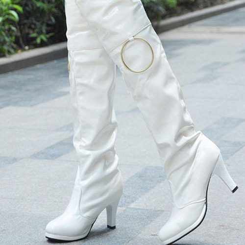 S5049 wonderful party top selling european sexy lady white high heel stiletto boots