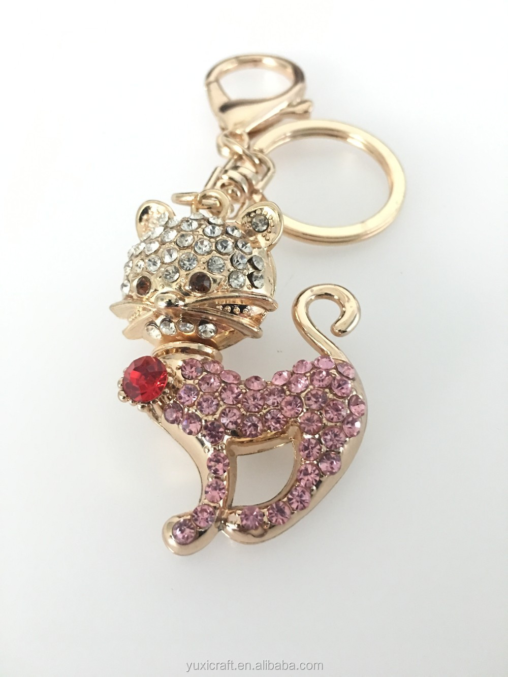 Custom crystal metal rhinestone animal lovely kitty key ring chain suppliers for bag,car, crafts
