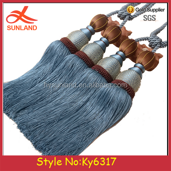 Fashionable curtain hanging with tassels ball handmade curtains bind the rope ties