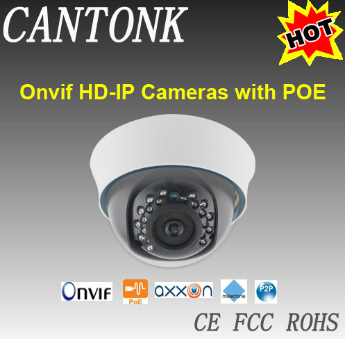 WDR HD 720P real-time image P2P Dome IP Camera with External POE