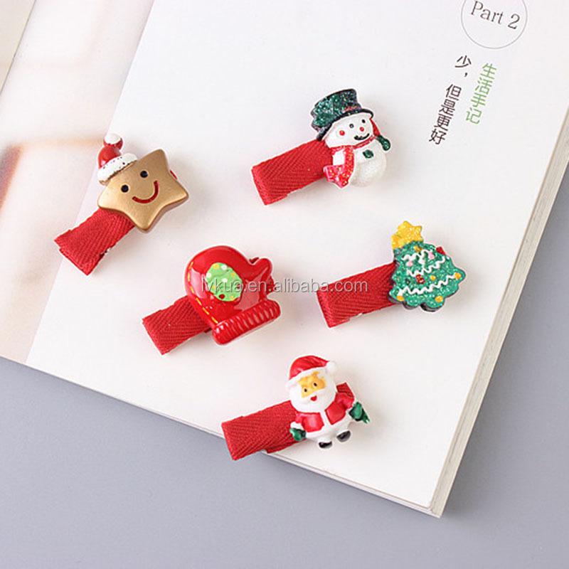 2017 Cheap Fashion Festival Christmas Hair Accessories with Snowman Trees Hats Hair Clips Gift for Kids Girls