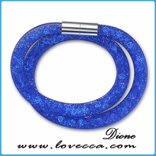 Guangzhou supplier Stardust style double magnetic crystal stardust mesh bracelet