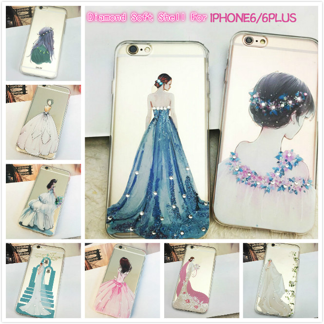 New Color Painted Diamond TPU Sublimation Phone Case For iPhone 6 / 6s With ROHS Certification