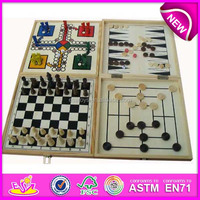 2015 wooden cheap chess set with draughts,Outdoor Chess and Draughts Set,hot sale folding wooden draughts toy WJ277101