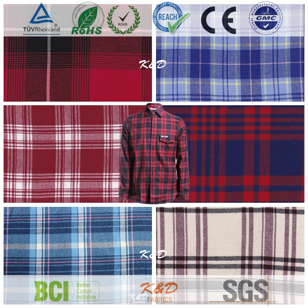 cotton woven checked printed flannel shirting garments fabrics wholesale