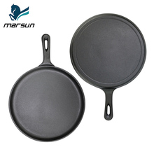 China Supplier Amazon Hot Sale Product Pre-seasoned Vegetable Oil Non-stick Long Handle Frying Pan Cast Iron Round Griddle