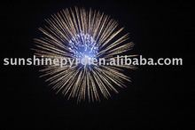 4 inch silver wave with blue pistil display shell fireworks new products 2014