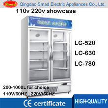 520L 630L 780L upright glass door refrigerator double sided refrigerator