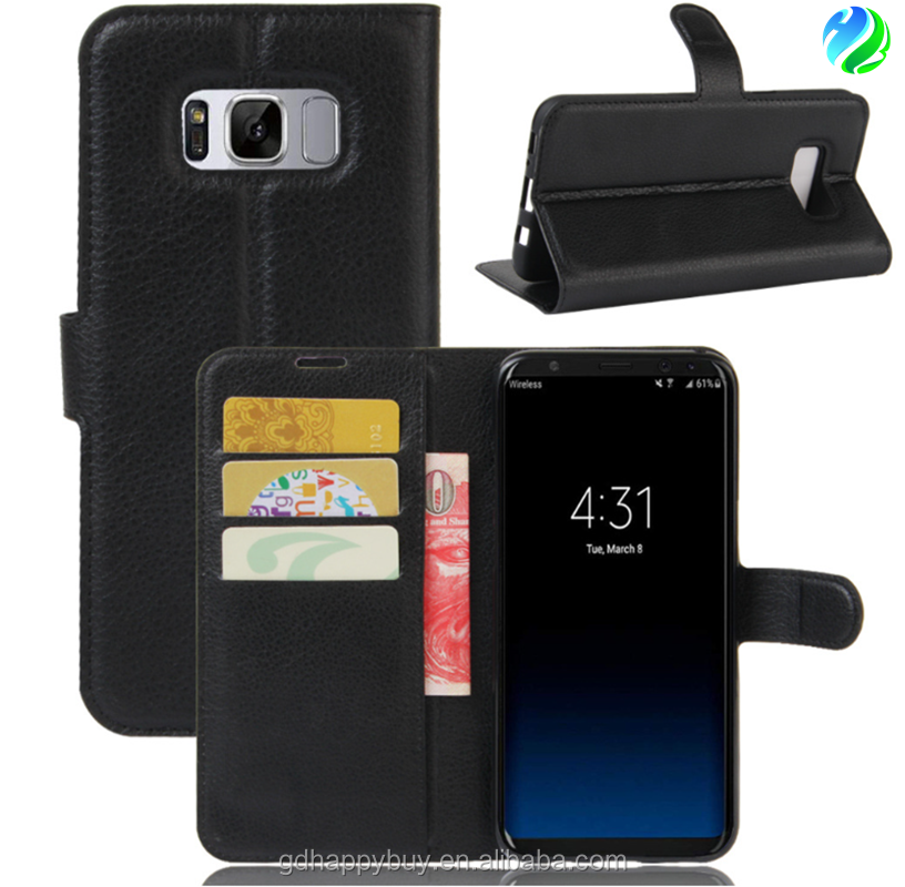 Hot selling high quality factory price PU leather wallet flip stand phone case cover for samsung galaxy s8 s8 plus