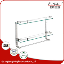 China wholesale 2 layer glass bathroom shampoo rack for storage