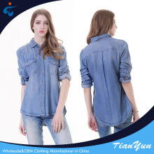 Best selling optional size long sleeve blue model casual denim shirt for women