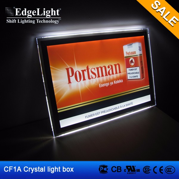 Edgelight crystal <strong>led</strong> lighting box frame for poster advertising <strong>display</strong>