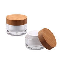 wholesalers empty bamboo cosmetic jar,glass cream jar