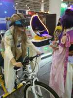 9D VR bike racing ride machine for theme park, gym, games city, shopping mall