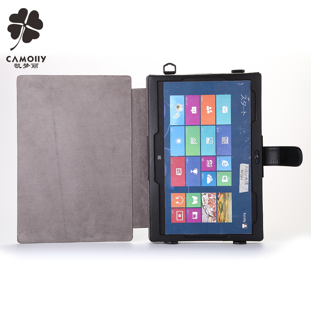 china supplier cowhide genuine leather tablet cover case for ipad air 1/2/3 for surface pro with shoulder belt and card window