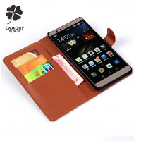 fashion genuine leather wallet flip phone case for huawei p8 mobile phone cover case with card holder