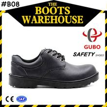 Working Time Black Leather Double Density Pu Injection Sole Safety Shoes with Kevlar Insole