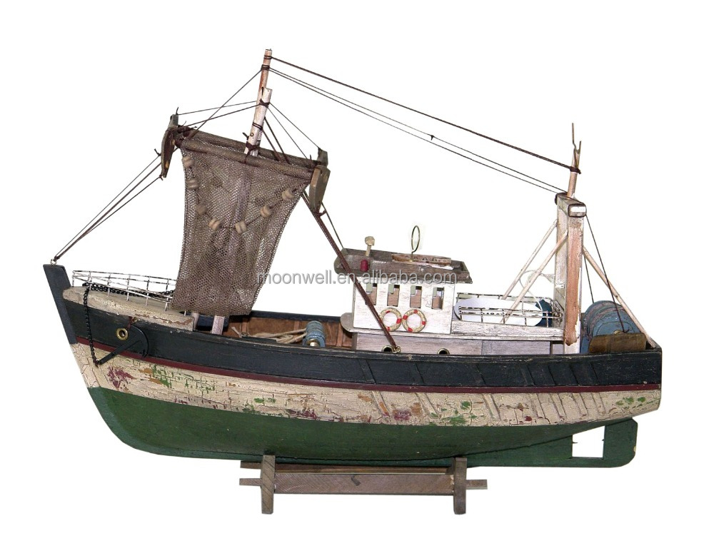 Rustic Wooden Fishing Boat Model,Souvenir,trawler model,wooden,Nautical Gifts Decoration Handicrafts,Decorative Boat,Boat Model